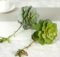 Wholesale Artificial Pvc - PVC succulent Artificial hand feeling greenery leaf plants silk flower for wedding bridal bouquet home party holiday decoration 17667