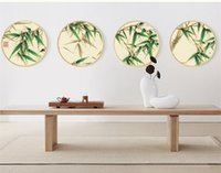 Wholesale Bamboo Canvas Art - wall art pictures Simple modern paintings Solid wood Round box 10 style bamboo 2 size Restaurant bedroom decorations Chinese classical style