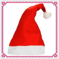 Wholesale 2016 NEW Red Christmas Hat non woven Christmas Caps Red Santa Hats Kids Adults Christmas Costumes Clothes High Quality Free DHL IN STOCKS