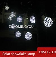 ingrosso luci di uve esterne-3.8M 12LED Lampada a fiocco di neve solare, illuminazione esterna a LED, lampada da giardino per esterno, lampadario di Natale con cornice impermeabile