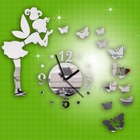 Wholesale Mirror Clock Fairy - Modern Butterfly Fairy Clock DIY 3D Art Mirror Wall Sticker Kids Room Home Decor