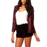 Wholesale Plus Size Sequin Cardigan - Wholesale- Plus Size XL XXL Spring Autumn Fashion Women Blusas Ladies Sequins Paillette Coat Long Sleeve Slim Jacket Cardigan Outwear