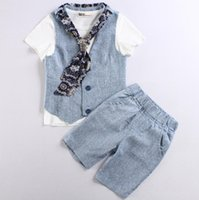 Wholesale Tie Vest Shirt Set - Baby Boys Kids Gentleman Set T Shirt+Vest+Tie+Pant 4pcs Outfits Clothes For 1~7 Y 5 s l