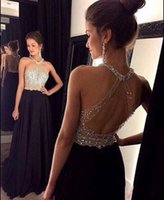Wholesale Dress Evening Squins - Halter A Line Sleeves Backless Crystal Squins Beaded Sweep Train Evening Dresses Sexy Chic Custom Made