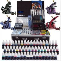 Wholesale Colored Tattoos - US Free Shipping Solong Tattoo 4 Machines Tattoo Kit 54 Colored Inks Power Supply Set TK456