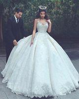 Wholesale Vestido Dubai Bridal - 2018 Vestido De Novia Arabic Dubai Spaghetti Straps Elegant Wedding Dresses Ball Gowns Lace Appliques Tiers Tulle Bridal Gowns BA6756