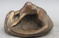Wholesale Animal Ashtray - Western Art sculpture Deco Bronze Lie-down Oomph Nude Mermaid Girl Belle Ashtray