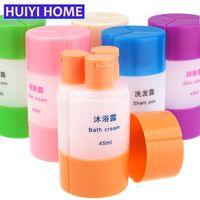 Wholesale Plastic Shower Organizer - Wholesale- Huiyi Home Travel Mini Cosmetics Plastic Bottle 3-In-1 Portable Shower Gel Storage Jar Bathroom Organizer Accessories EGH053