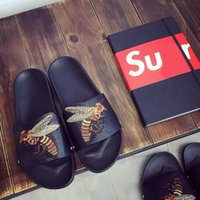 Wholesale Bee Room - designer bee silpper men women fashion beach slippers high quality Genuine leather black color EUR size 34-44size sandals
