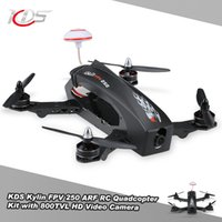 Wholesale Rc Kds - Wholesale- Brand KDS Kylin FPV 250 Carbon Fiber ARF Racing Drone 2204-2300KV Brushless Motor RC Quadcopter with 800TVL HD Video Camera