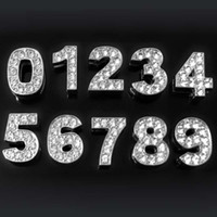 números de diapositivas de diamantes de imitación al por mayor-100 unids / lote aleación de zinc diy rhinestone números de diapositivas 0-9 para mascotas collares números deslizantes encantos al por mayor