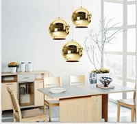 Wholesale round fluorescent lights for sale - Group buy LED Pendant COPPER ROUND Mirror Ball Lamp Electroplating LED Light Chandelier Lights Indoor Lamps Lighting Hotel Living Room