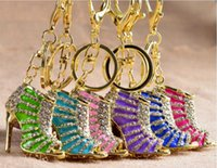 Wholesale Sexy Keychains - Full of diamond high heels keychains sexy Keychains many colors can choose