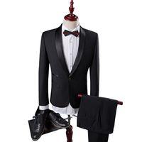 Wholesale Shawl Collar Dress Suit Men - Wholesale- Men Wedding Suit Male Groom Suit Latest Coat Pant Designs Slim Fit Mens Dress Suits Brand Shawl Collar Black Tuxedos For Men Q85