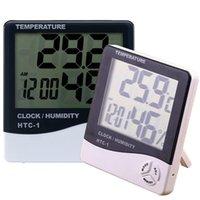 внутренний электронный дисплей оптовых-Электронные часы температуры HTC-1 ЖК-Цифровой измеритель влажности в помещении ежедневно будильник и календарь дисплей с розничной упаковке DHL OTH357