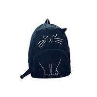 Wholesale Japanese School Bag Wholesale - Wholesale- 2016 Japanese Lovely cartoon Cat Backpack For Women Backpack Casual Canvas Girl School Bag Kawaii Backpack travel rucksack
