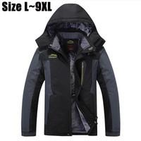 Wholesale Men S Jacket 7xl - Wholesale- 7XL 8XL 9XL Winter Jacket Men Brand Thick Warm Parka Velvet Fleece Hooded Windproof Waterproof Outerwear Coats Windbreaker Men