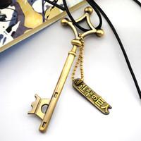 Wholesale attack titan eren cosplay - Wholesale- Attack On Titan Eren Key Necklace Metal Pendant Eren Cosplay Jewelry Toy Anime Figure Shingeki No Kyojin Gift Halloween A671b