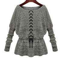 Vente en gros-Pulls Femmes Poncho Pattern Automne O-Neck Dessin Chaîne Knitted Tops Cape oversize chandail Jumper Pullover Sueter TH033