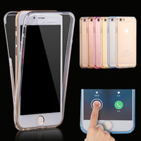 Wholesale Iphone Front Back Skin - Ultrathin Slim TPU 360 Degree Front Back Hybrid Clear Crystal Silicone Soft Case Skin Cover for Iphone X 10 8 7 6S plus Samsung Note 8 S8 S7