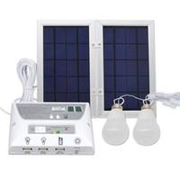 kits de iluminación solar al por mayor-6W Panel Solar 8000 mah Batería, Equipo de Sistema de Iluminación de Emergencia Solar Móvil, Lámpara de Luz Solar para Interior, con 2 Bombillas