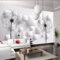 Wholesale Dandelions Wall Stickers - 3D room wallpaper custom mural non-woven wall paper sticker 3 d dandelion TV setting wall paintings photo wallpaper for walls 3d