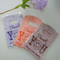 Wholesale Bamboo Recycling - Wholesale-150pcs Purple Orange Coffee Mixed Small Plastic Bag 9x15cm Candy Jewelry Gift Packaging Bags Cute Plastic Gift Bags With Handle