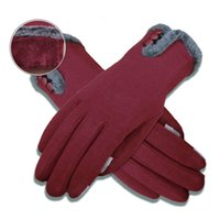 Wholesale Ladies Purple Leather Gloves - Wholesale- Ladies Gloves Thicken Warm Fleece Winter Drive Mitts Women's Touch Screen Leather Gloves For Women Fleece Female Long Mittens