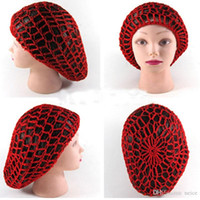 Wholesale Red Hair Nets - 2017 New Women Lady Soft Rayon Snood Hair Net Crochet Hairnet Knit Hat Cap Hairnet New