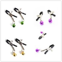 Wholesale Bell Sex Toys - 1Pair Steel Nipple Clamps One Bell Sex Bondage Toys,Sex Game Nipple Clips Clamp Or As Labia Clips Bell Sounds When Making Love