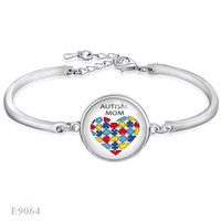 Wholesale Wholesale Autism Awareness Charm Bracelets - Fashion Adjustable Autism Mom Puzzle Pieces Awareness Ribbon Glass Dome Cabochon Silver Finish Open Chain Bracelets For Women Girl Jewelry