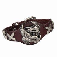 Wholesale Leather Steampunk Bracelets - Wholesale-Steampunk Style Men Jewelry Eagle Charm Genuine Leather Bracelet Bangles Jewelry For Men 4 Color Bracelets For Men 2016