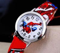 Wholesale Cute Spiderman Gifts - Hot Sale SpiderMan Watch Cute Cartoon Watch Kids Watches Rubber Quartz Watch Gift