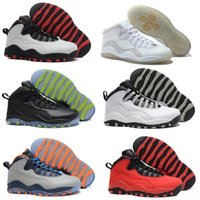 Wholesale Elastic Over - Free shipping Cheap Air Retro X 10 Basketball Shoes Bulls OVO Over Broadway Sports Shoes Training Boots Men Athletic Sneakers Eur 41-47