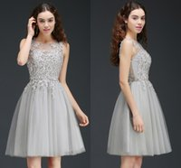 Wholesale Sliver Dress Cocktail - Sliver Knee Length Homecoming Dresses Sheer Jewel Neck Mini Short Homecoming Dresses with Lace Appliques Cocktail Party Gowns CPS669