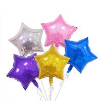 estrella dorada globo dorado al por mayor-10pcs / lot 18inch Laser Star Balloons Foil de aluminio Air Helium Globos inflables para cumpleaños Suministros para banquetes de boda Juguetes para niños