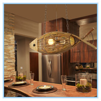 Creative Main Crafted Bamboo Fish Led E27 Suspension Lights for Living Room Bar Dining Room Shop Coffee shop decoration