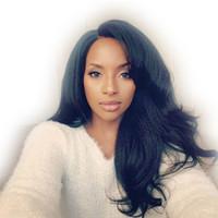 Wholesale Long Heavy Hair - Italian Yaki Full Lace Human Hair Wigs For Black Woman Brazilian Virgin Hair Glueless Lace Front Wigs Loose Wave Heavy Yaki Lace Wigs