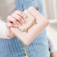 Wholesale Korean Cat Bag - 2017 Korean Cute Cat Anime Leather Trifold Slim Mini Wallet Women Small Clutch Female Purse Coin Card Holder Dollar Bag Cuzdan