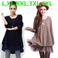 Wholesale Women Xxl Chiffon - Wholesale- 2016 New Winter Casual Dress for Women Big Plus Size chiffon women sweater dress Black,Blue,Orange,Red,Khaki L,XL,XXL,3XL,4XL