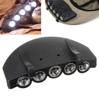 Wholesale Led Clip Hat Cap - 5 Leds Cap Hat Light Clip-On 5 LED Fishing Camping Head Light HeadLamp Cap with 2* CR2032 cell Batteries