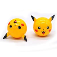 Wholesale Cute Pokemon - Pikachu Pokeball Grinder 55mm Poke Ball Cute Herb Grinder Metal Zinc Alloy Yellow Ball Shape Tobacco Grinders 3 Parts Accessories
