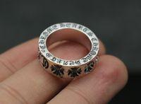 925 sterling silber ringe kreuzen großhandel-Britischer Stil 925 Sterling Silber Ring Paar personalisierte Schmuck Zeigefinger Kreuz Blume Ring