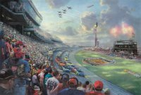 Wholesale Thomas Kinkade Landscape Paintings - NASCAR THUNDER Thomas Kinkade Oil Paintings Art Wall Modern HD Print On Canvas Decoration No Frame