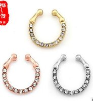 Wholesale Rhinestone False Nails - Selling best selling crystal false nose ring foreign trade false nose nail puncture nose ornaments