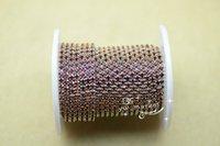 Wholesale Topaz Sew Rhinestones - SS10 smoke topaz colour rhinestone close trim chain silver golden x 10 yard Sewing Accessories