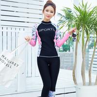 döküntü koruyucu başlıkları toptan satış-Bayan Wetsuits Sörf Uzun Kollu Dalış Takım Elbise Iki Parça Çiçek Döküntü Guard Kadınlar Mayo Sörf Bodysuits Üst + Pantolon 6603