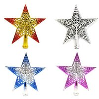 Wholesale pink plastic christmas tree - Wholesale- New Plastic Lovely Shiny Star Topper Top Ornament Xmas Christmas Tree Decoration Ornament Xmas Decorative Supplies 4 Colors