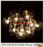 Wholesale  YOU 25Ft G40 Bulb Globe String Lights With Clear Bulbs Backyard Patio  Lights, Vintage Bulbs ,Decorative Outdoor Garland Wedding