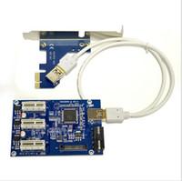 Wholesale Usb Pci Slot - PCIe PCI-E Riser Card 1 to 3 PCI express 1X slots Riser Card Switch Multiplier HUB Riser Card + USB Cable